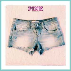PINK Cut Off Frayed Distressed Denim Jean Shorts
